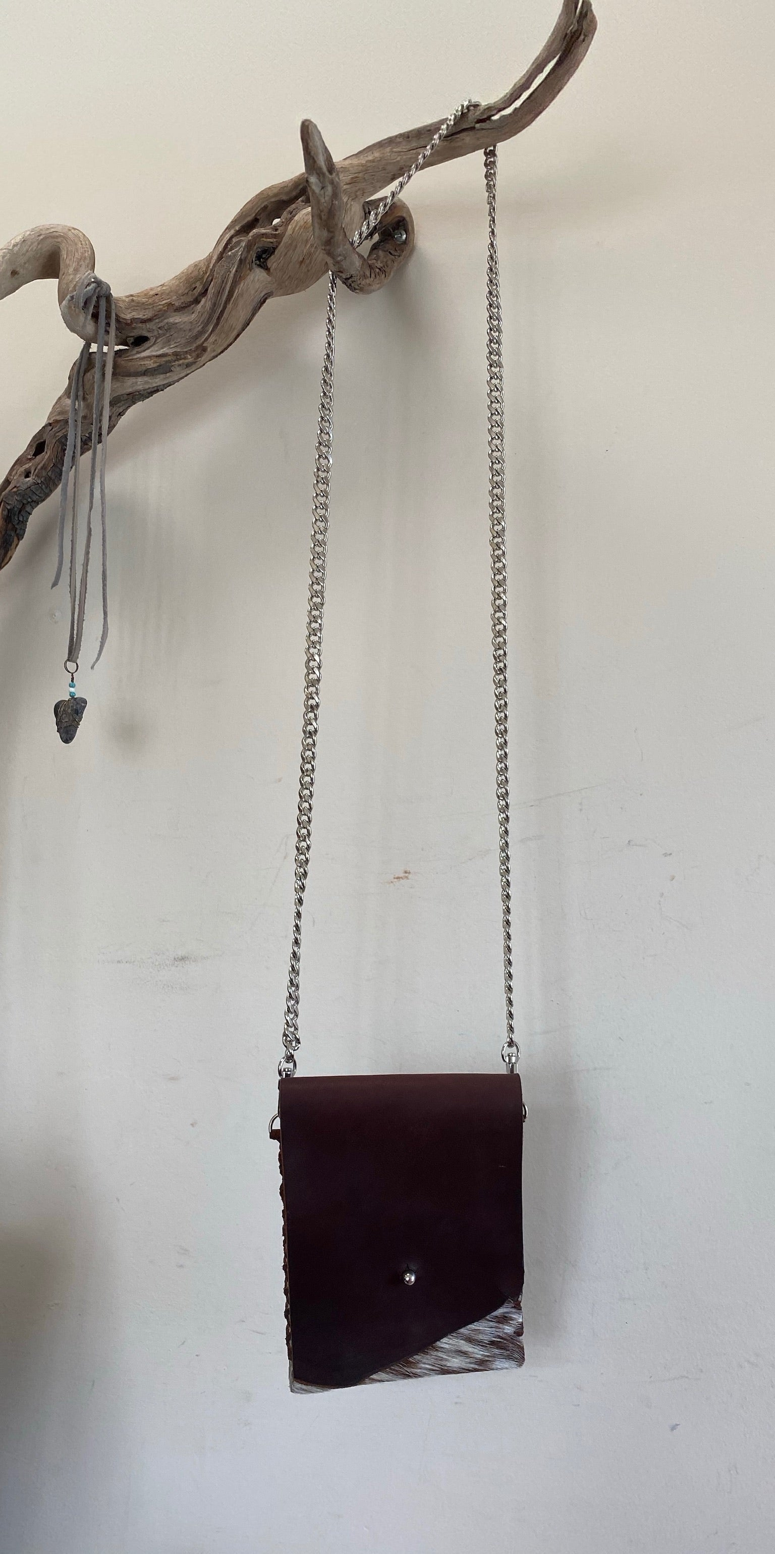#272 Brown Hair-On Leather Crossbody Bag w/ Chain Strap