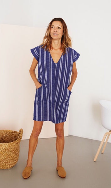 Blue Striped Pocket Tunic Dress by Two New York