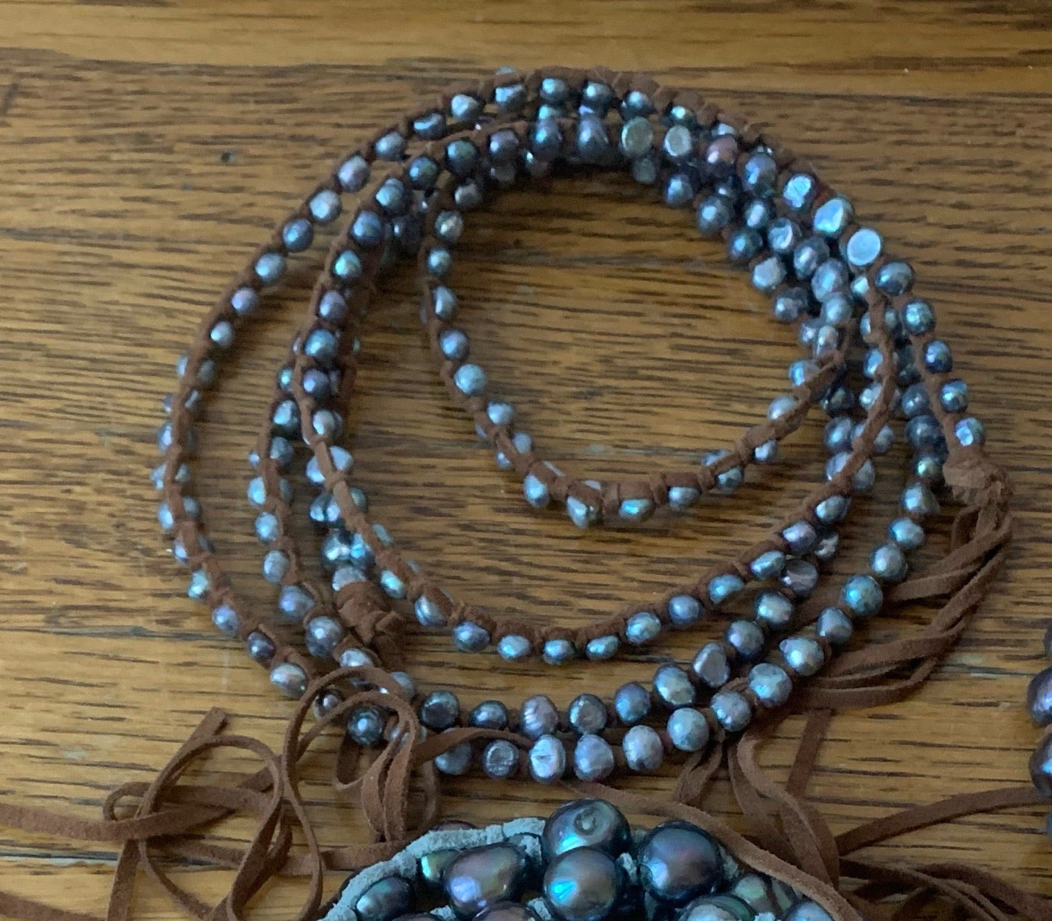 "Mini Grey Pearl Extra Long 55"" Necklace"
