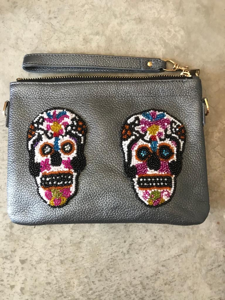 Small Gunmetal Sugar Skull Crossbody Bag