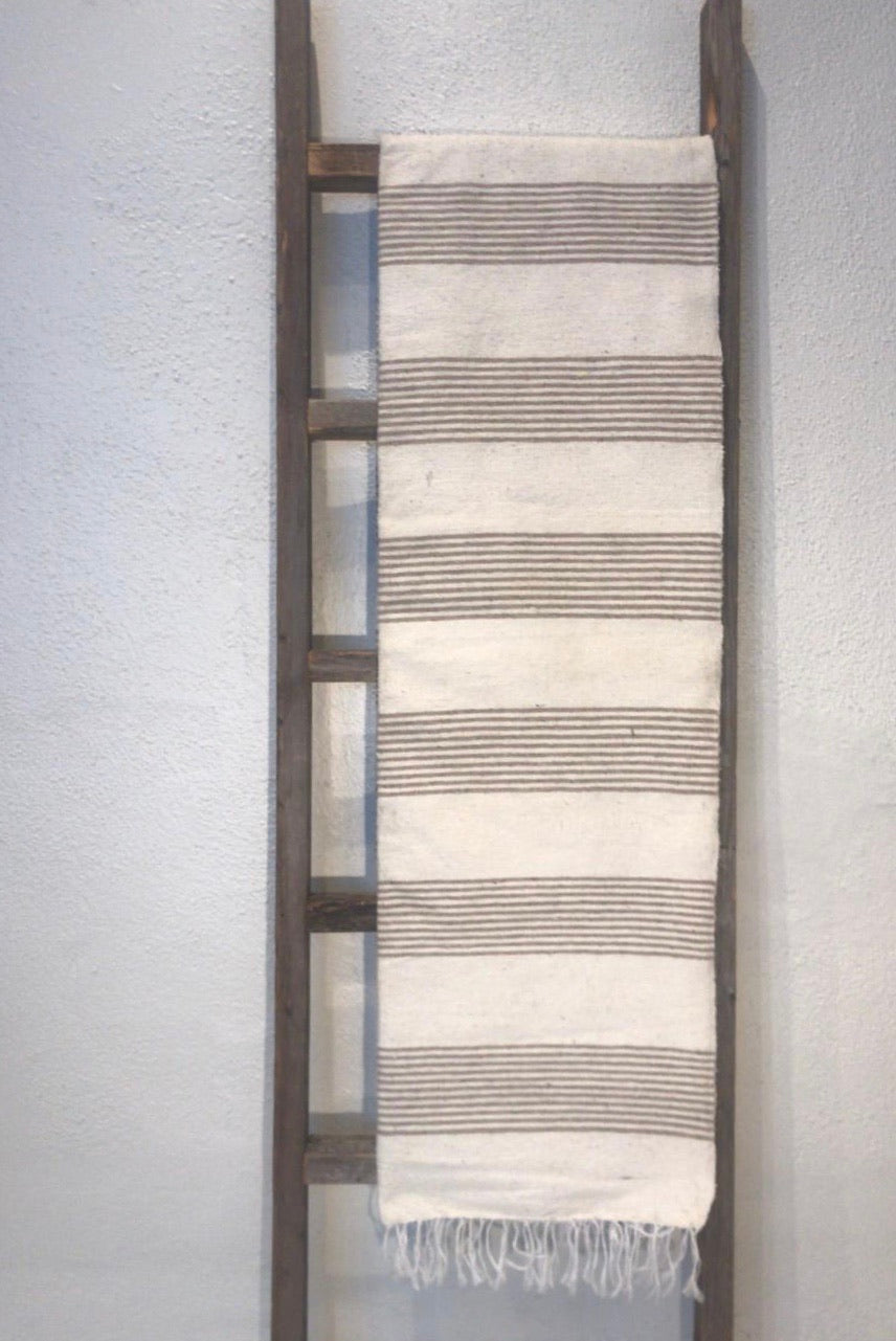 Pescadero Blanket - White/Tan Thin Stripe
