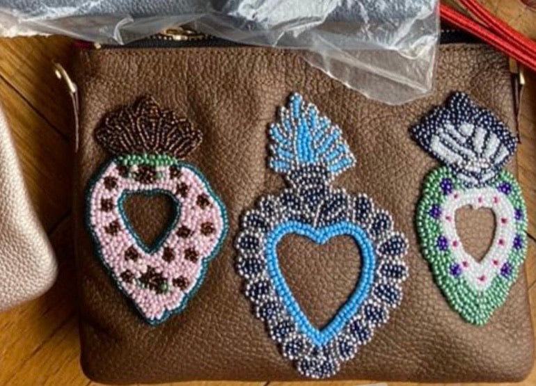 Small Chocolate Sacred Hearts Crossbody Bag