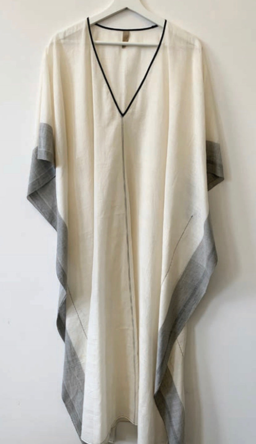 #2 Natural V-Neck Kaftan with Grey Trim