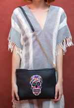 Large Black Sugar Skull Crossbody Bag