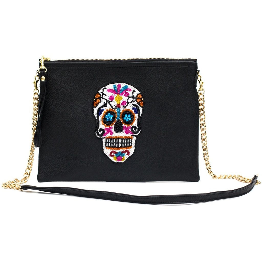 Black Sugar Skull Large Crossbody Bag