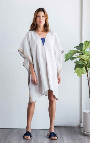 Linen Bandeau Caftan by Two New York