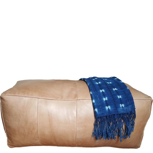Leather Rectangular Pouf | Earth