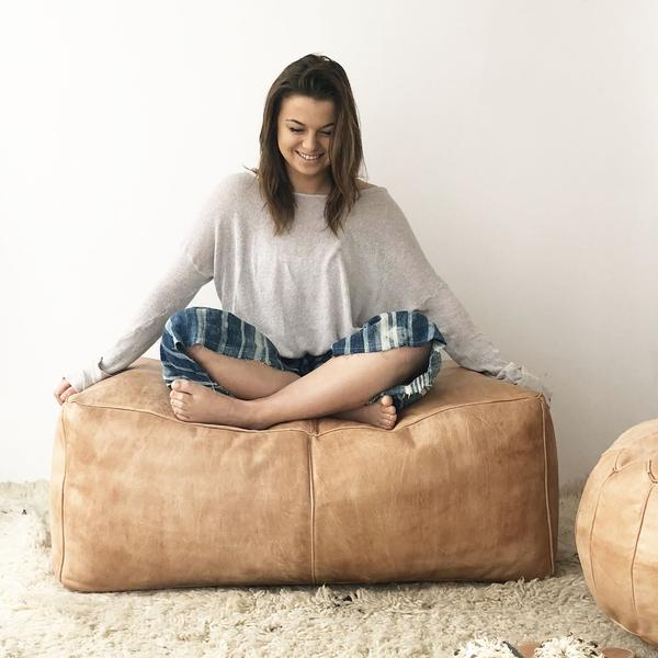 Leather Rectangular Pouf | Sand