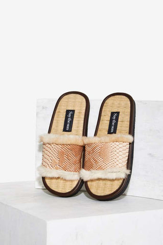 MEX Playa Chanel Snakeskin/Fur Slides by Say the Sun