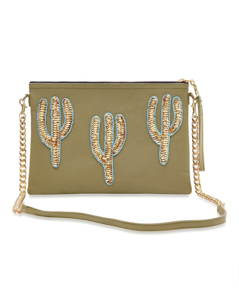 Olive Cacti Large Crossbody Bag