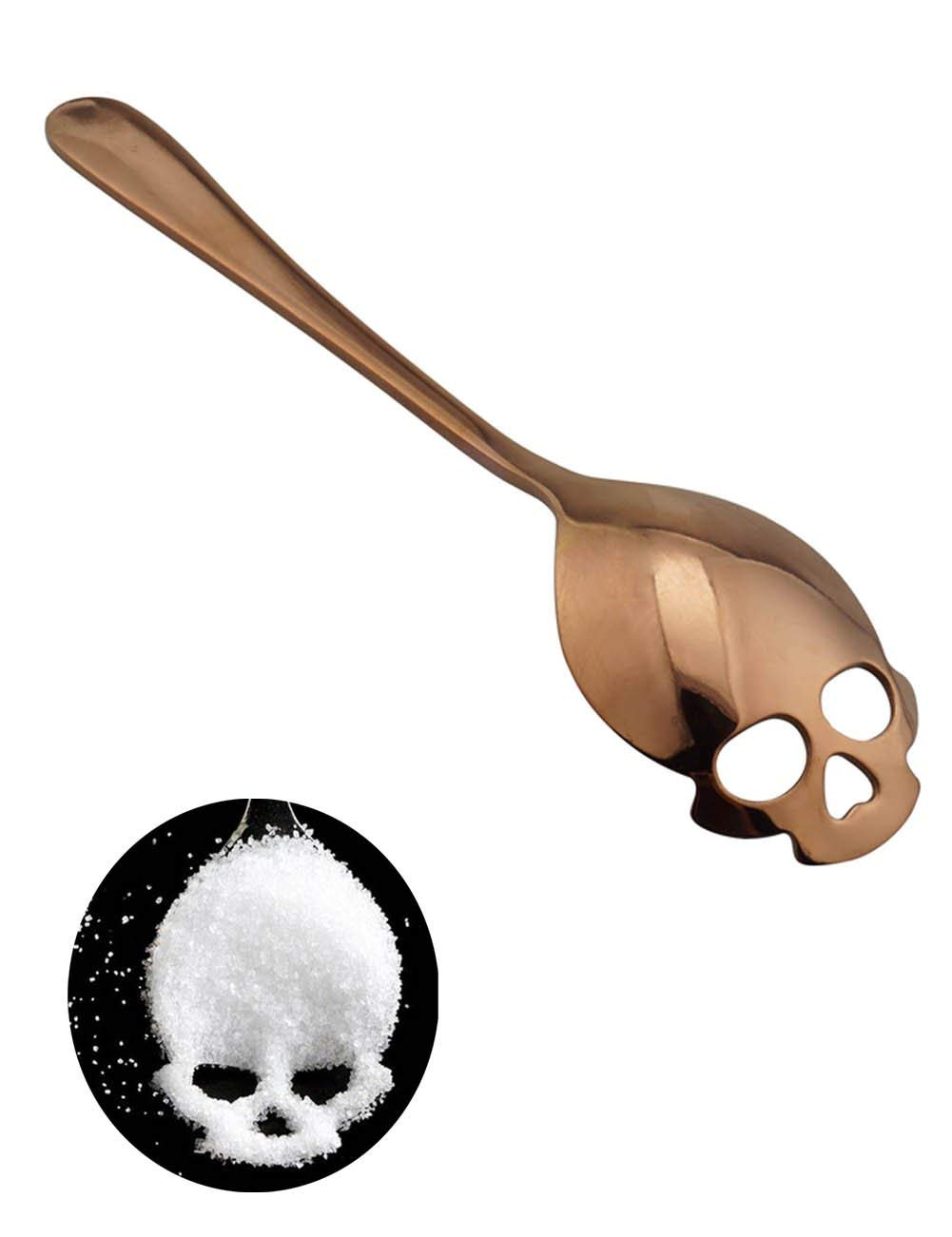 Copper color Skull teaspoon in stainless steel.