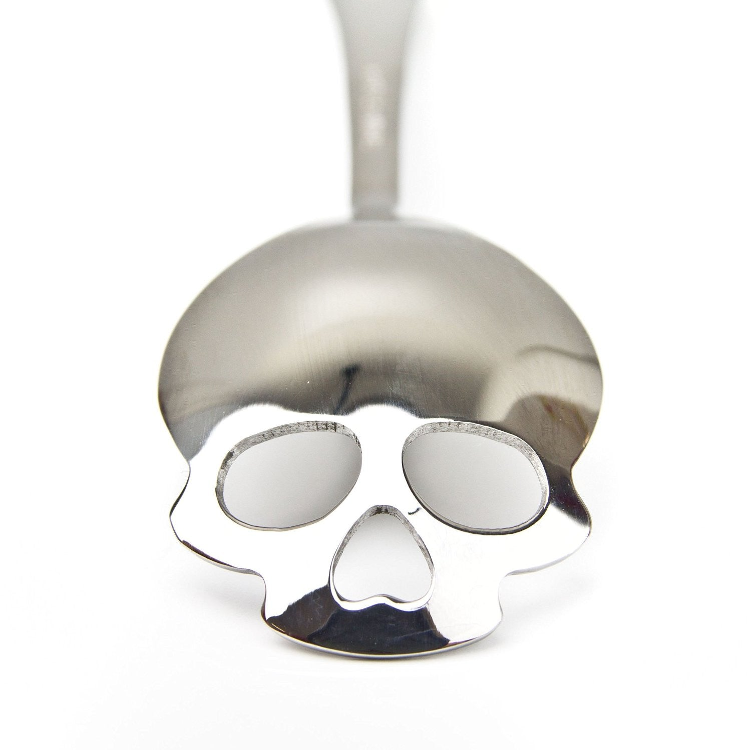 Silver Skull teaspoon in stainless steel.