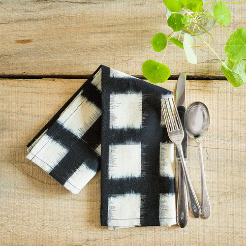 Handwoven Double Ikat Checked Napkin Set in Black by Small Gunns