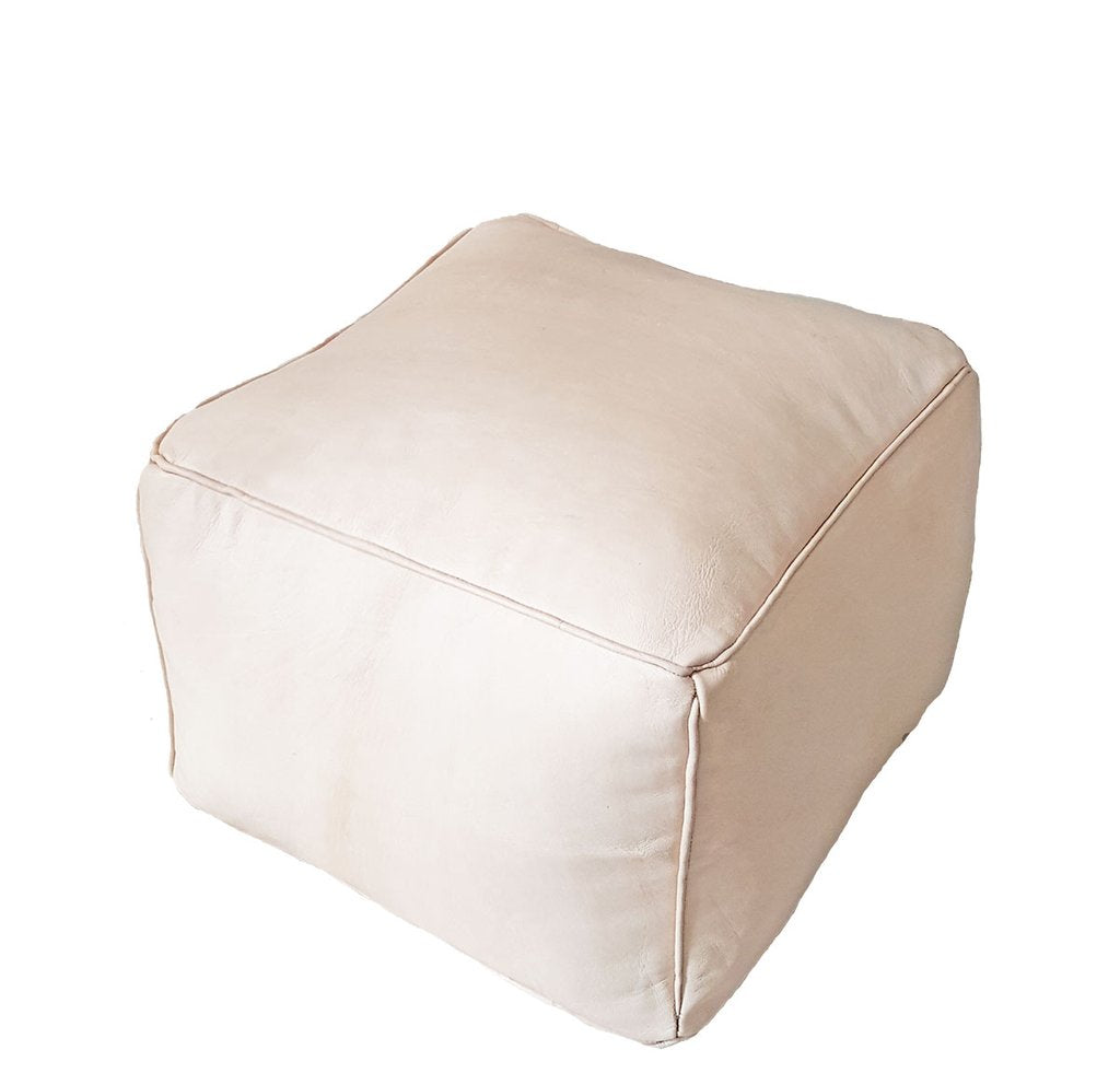 Square Leather Pouf | Sand
