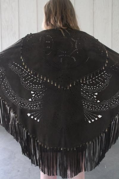 Perforated suede shawl with fringe