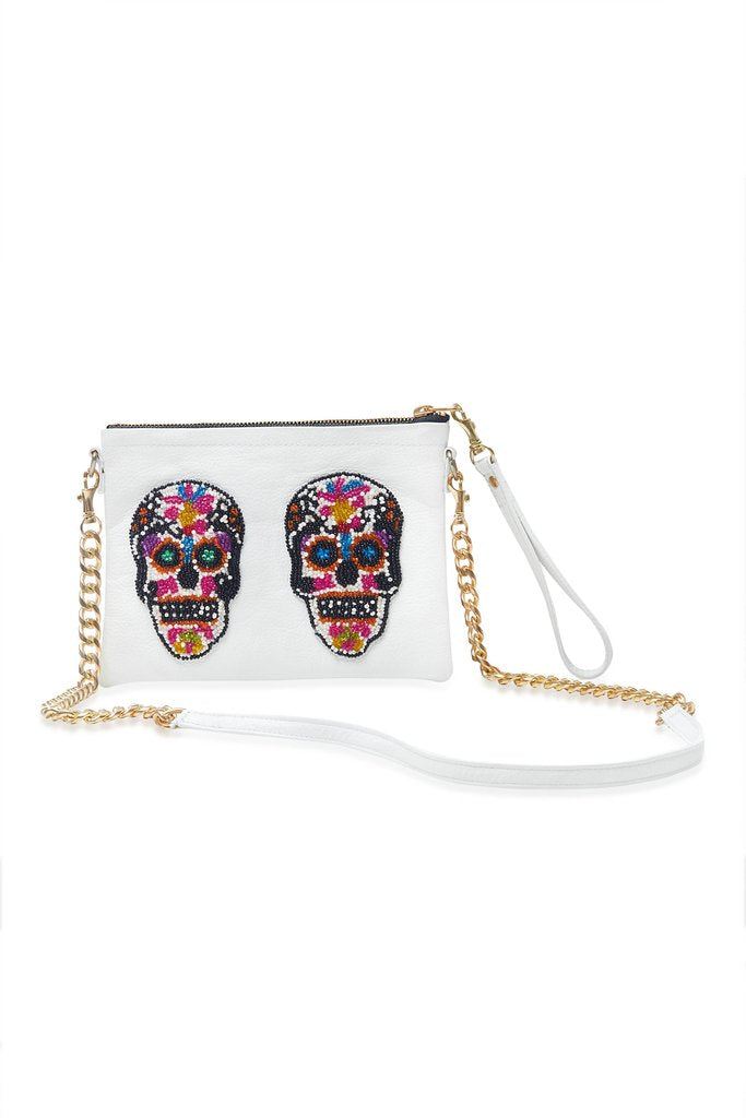 White Sugar Skull Small Crossbody Bag