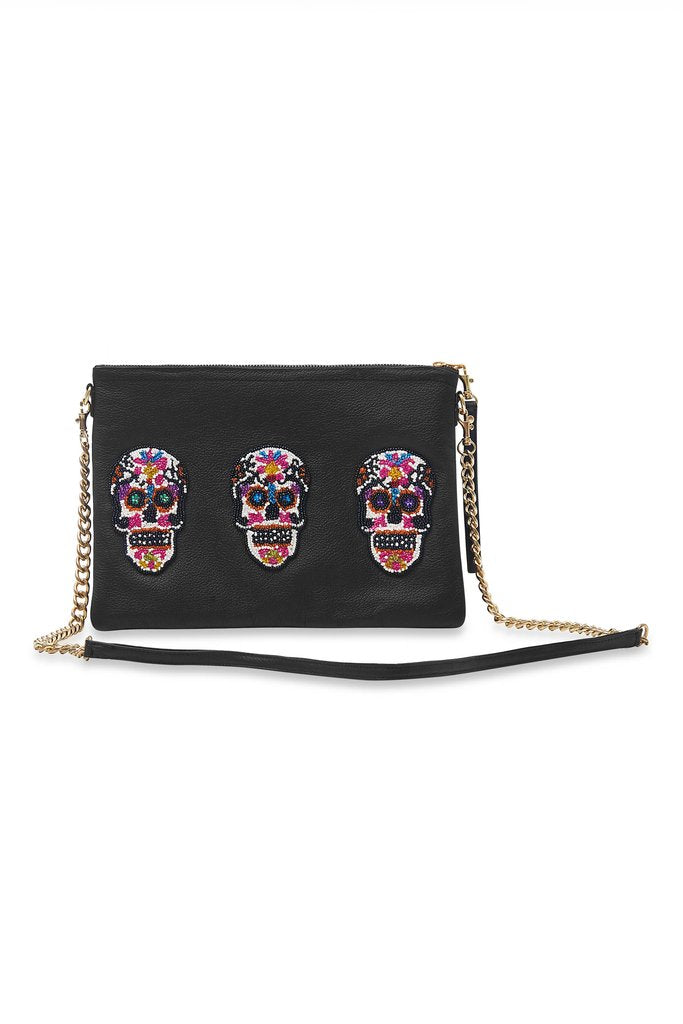 Black Triple Sugar Skull Large Crossbody Bag