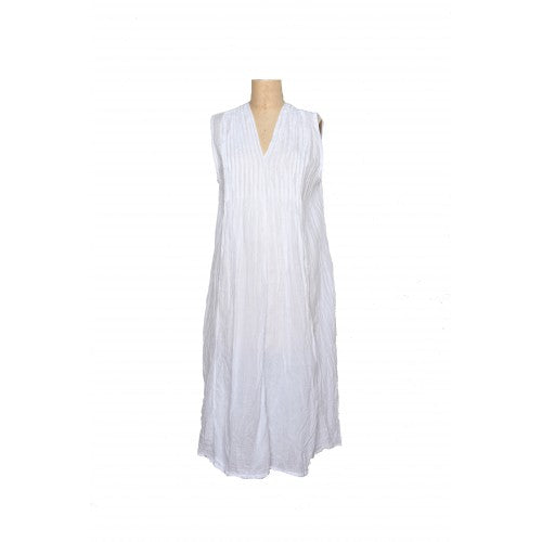 Sleeveless Val dress in white cotton