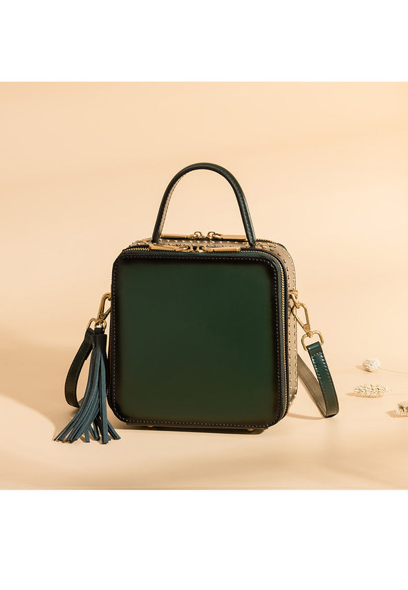 Leather rivet shoulder bag