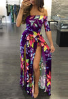 Digital Printed One Piece Split Dress