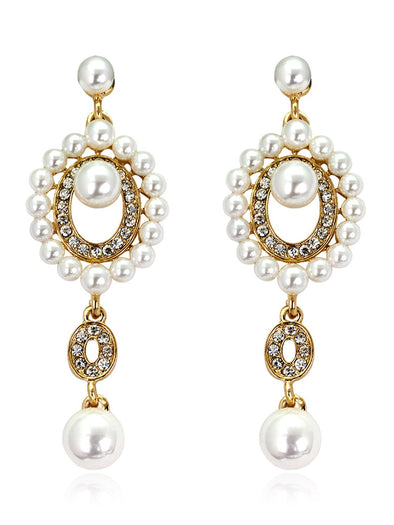Exquisite And Delicate Bride Long Rhinestone Pearl Earrings
