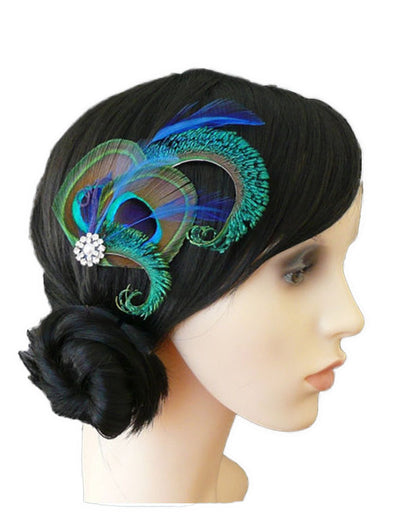 Peacock Feather Clip Table Dance Hair Accessories