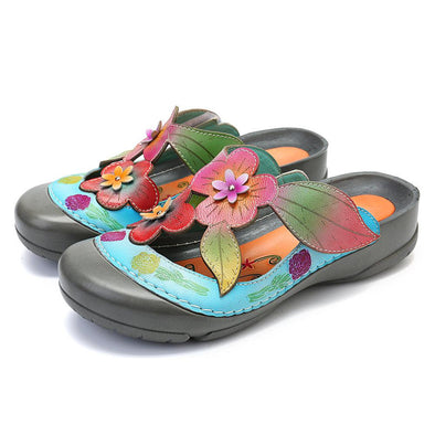 Genuine Leather Retro Splicing Flowers Pattern Stitching Adjustable Hook Loop Sandals