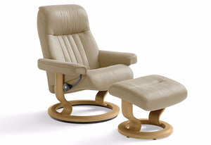Crown Small Classic Recliner & Ottoman (Stressless by Ekornes)