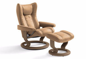 Wing Small Classic Recliner & Ottoman (Stressless by Ekornes)
