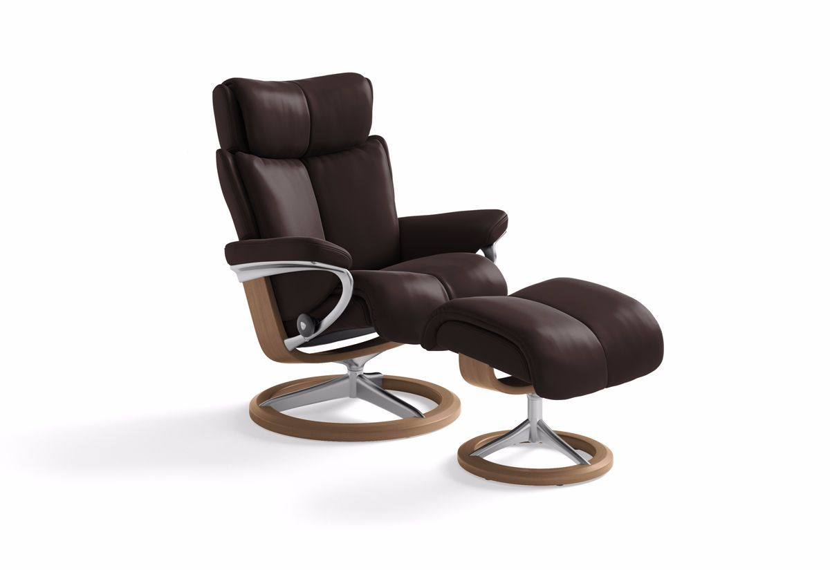 Magic (M) Recliner & Ottoman w/ Signature Base (Stressless by Ekornes)