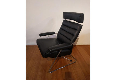 Adele Recliner (Lafer) Black Leather