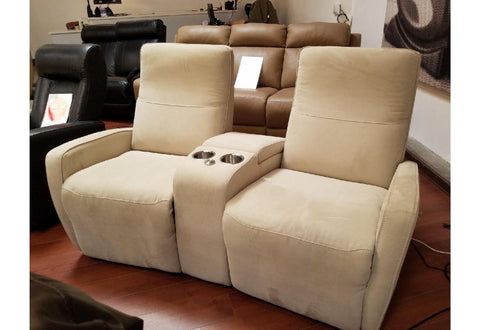 Sierra II Power Reclining Loveseat W/Console (Palliser) Echosuede Khaki Floor Model