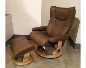 Wing Large Recliner & Ottoman (Stressless by Ekornes) Paloma / Chestnut