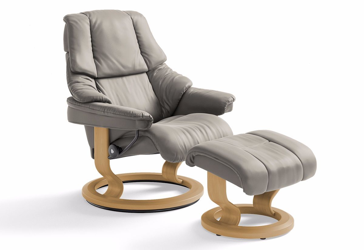 Reno Medium Classic Recliner & Ottoman (Stressless by Ekornes)