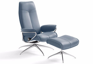 City Medium High Back High Base Recliner & Ottoman (Stressless by Ekornes)