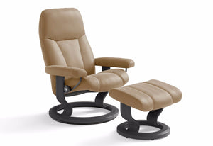 Consul Medium Classic Recliner & Ottoman (Stressless by Ekornes)