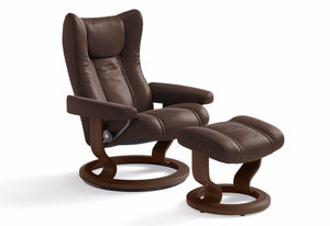 Wing Large Classic Recliner & Ottoman (Stressless by Ekornes)