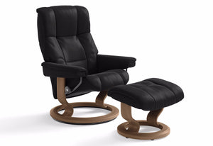 Mayfair Medium Classic Recliner & Ottoman (Stressless by Ekornes) Paloma Black