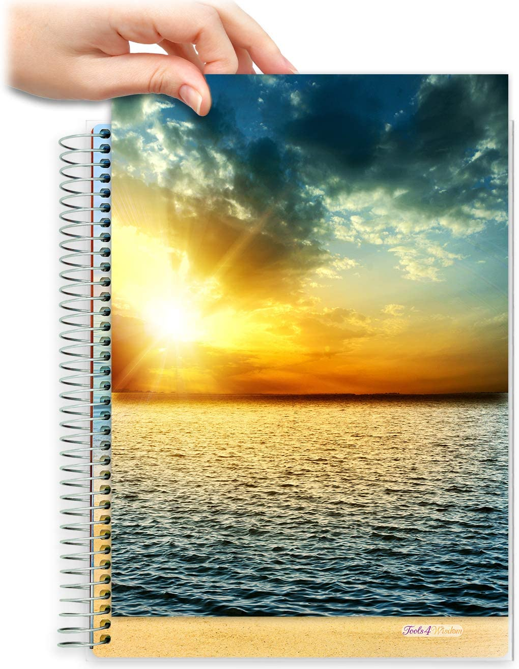 8.5x11 Customizable Softcover Planner • April 2021 to June 2022 Academic Year • Ocean Sunset