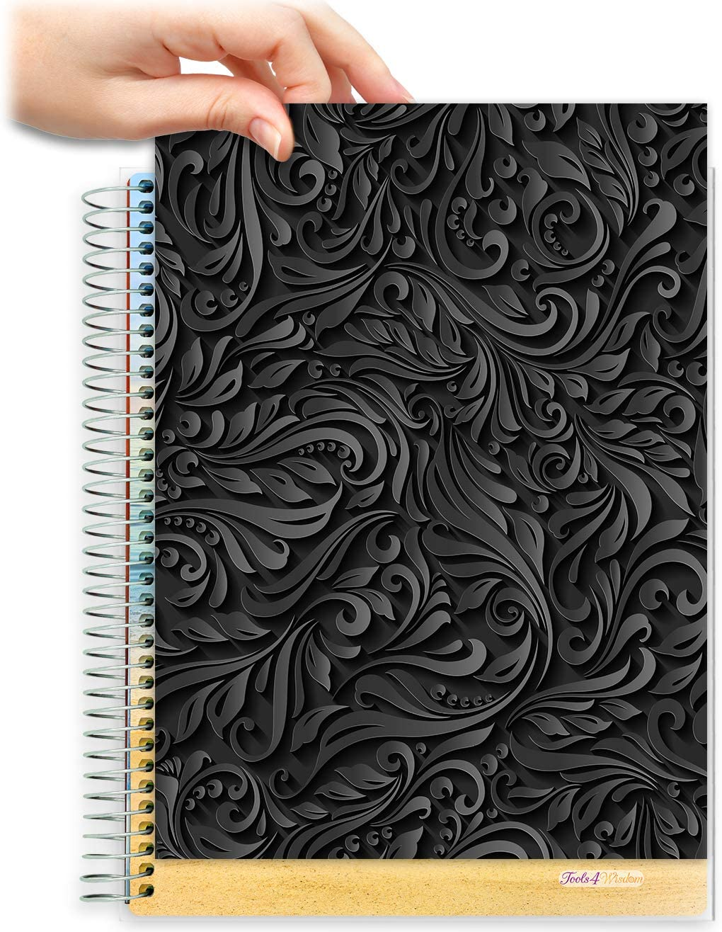 8.5x11 Customizable Softcover Planner • April 2021 to June 2022 Academic Year •  Black Floral