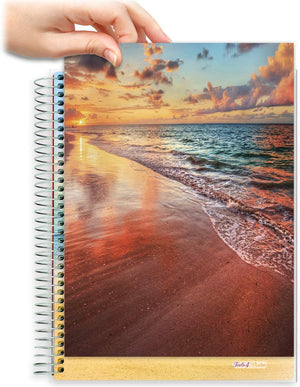 8.5x11 Customizable Softcover Planner • April 2021 to June 2022 Academic Year • Sandy Sunset