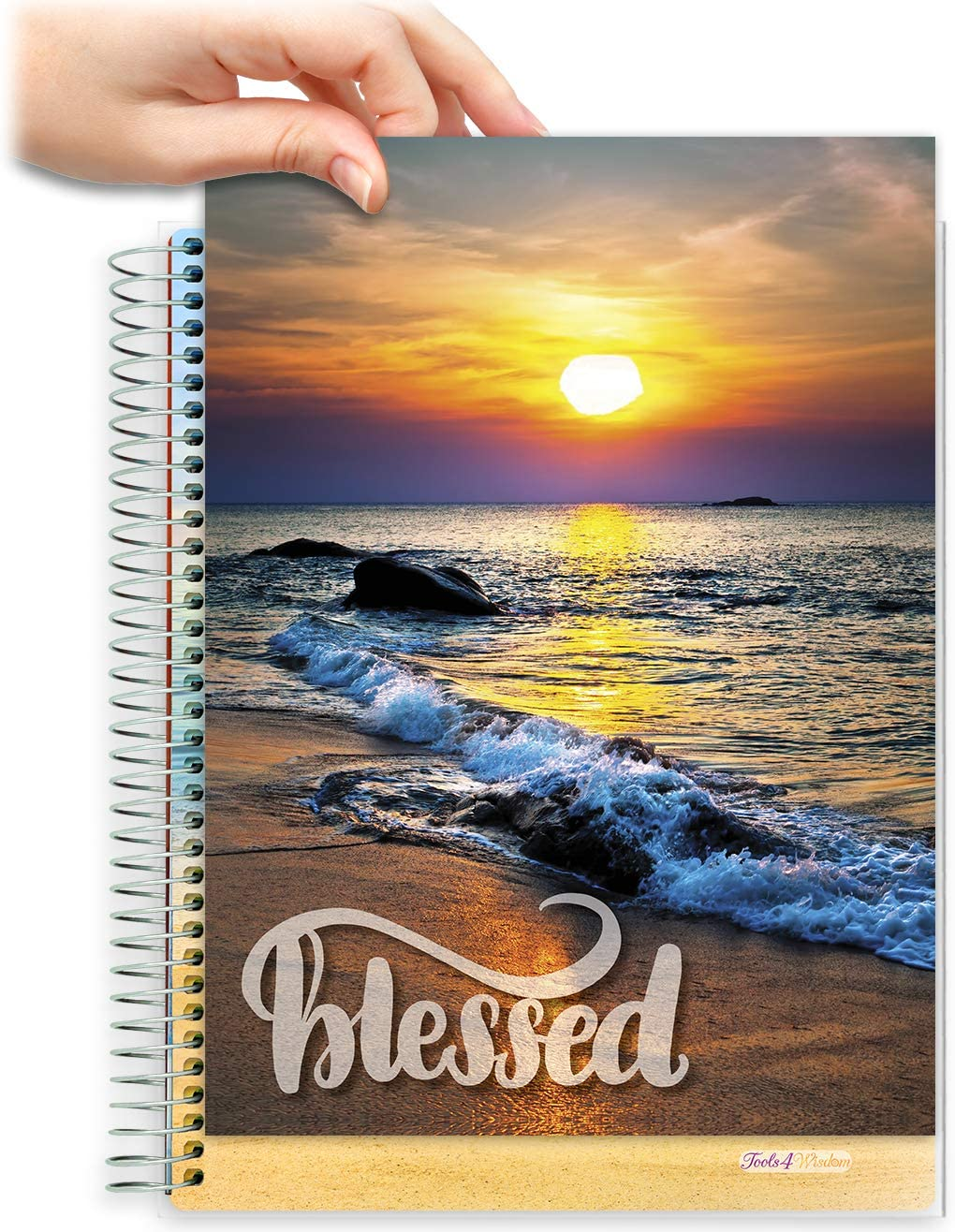 8.5x11 Customizable Softcover Planner • April 2021 to June 2022 Academic Year • Blessed Beach