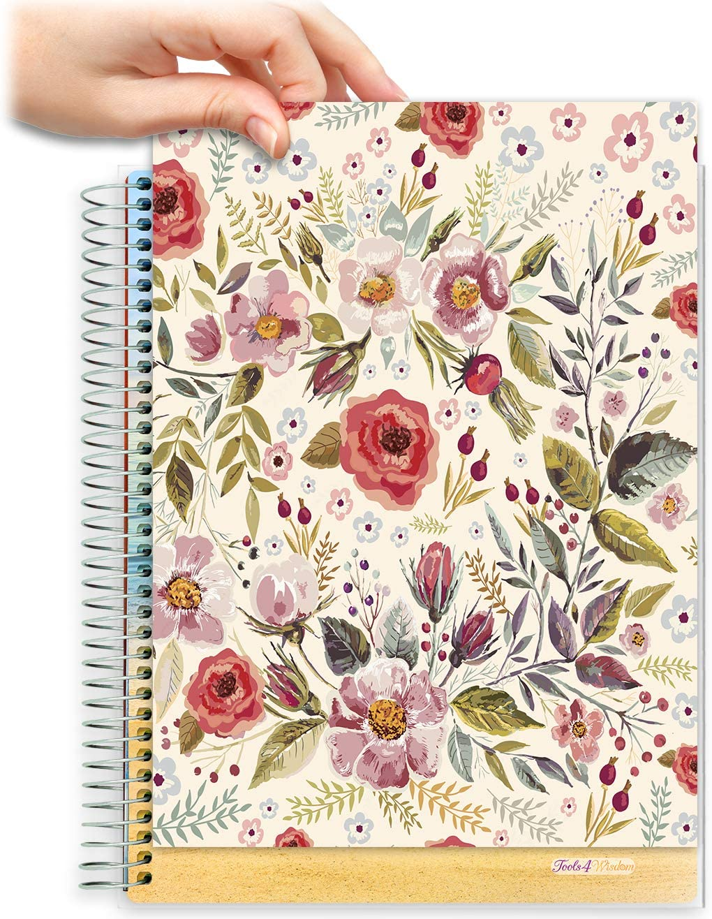 8.5x11 Customizable Softcover Planner • April 2021 to June 2022 Academic Year •  Autumn Flowers