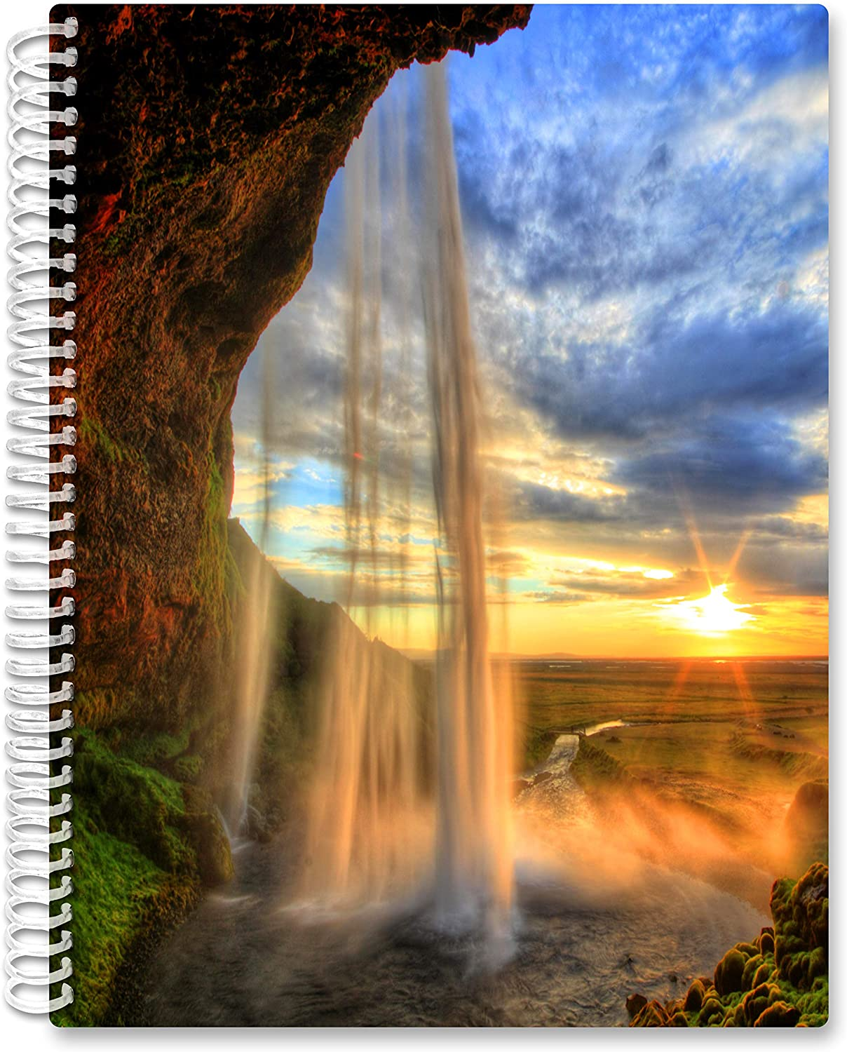 2021 Calendar Year Softcover Planner - 8.5 x 11 - Sunset Waterfall