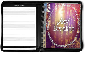 April 2021 to June 2022 Academic Year • 8.5x11 Planner w/ Executive Folio Cover • Just Breathe