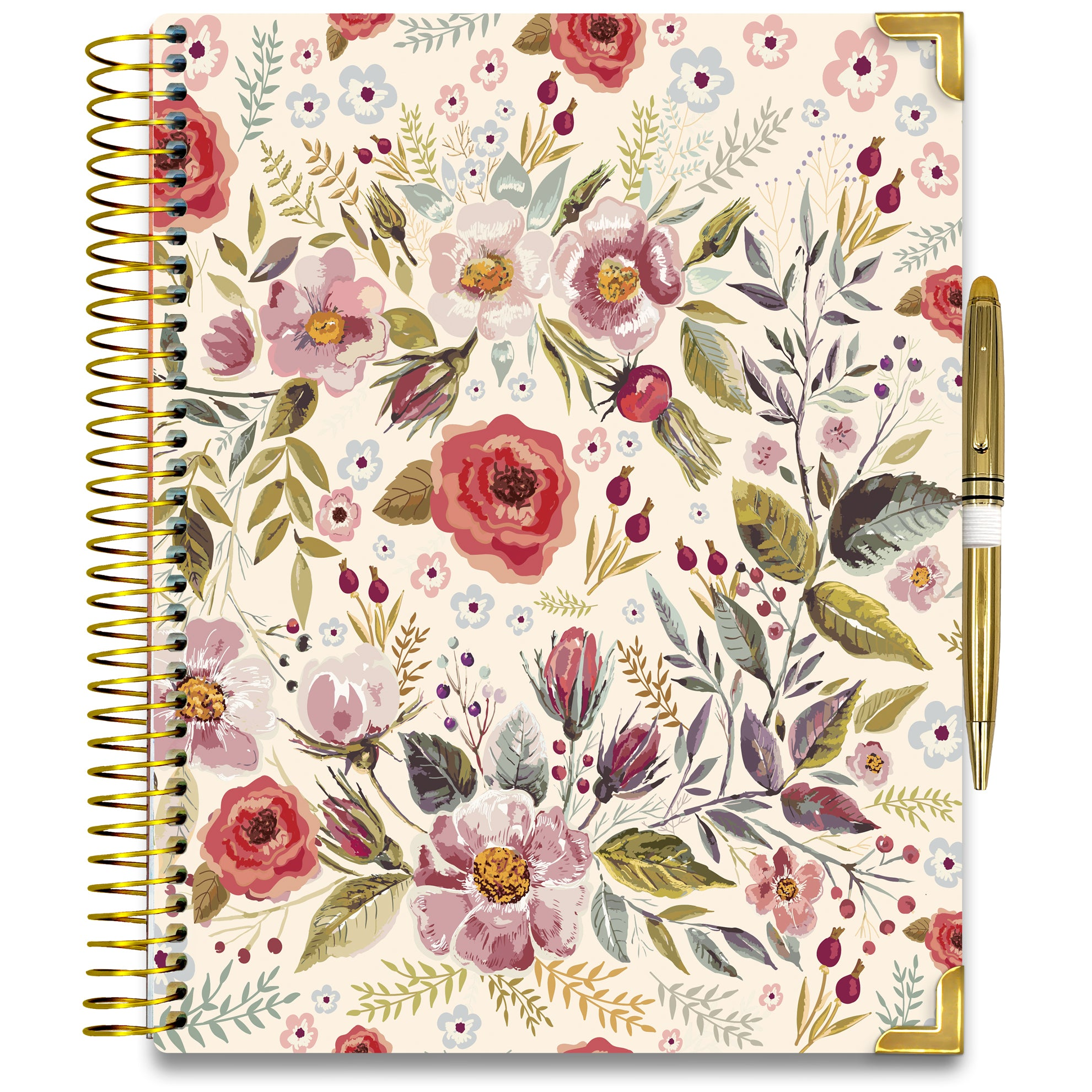 NEW: April 2020-2021 Planner - Gold Edition - Autumn Flowers-Office Product-Tools4Wisdom
