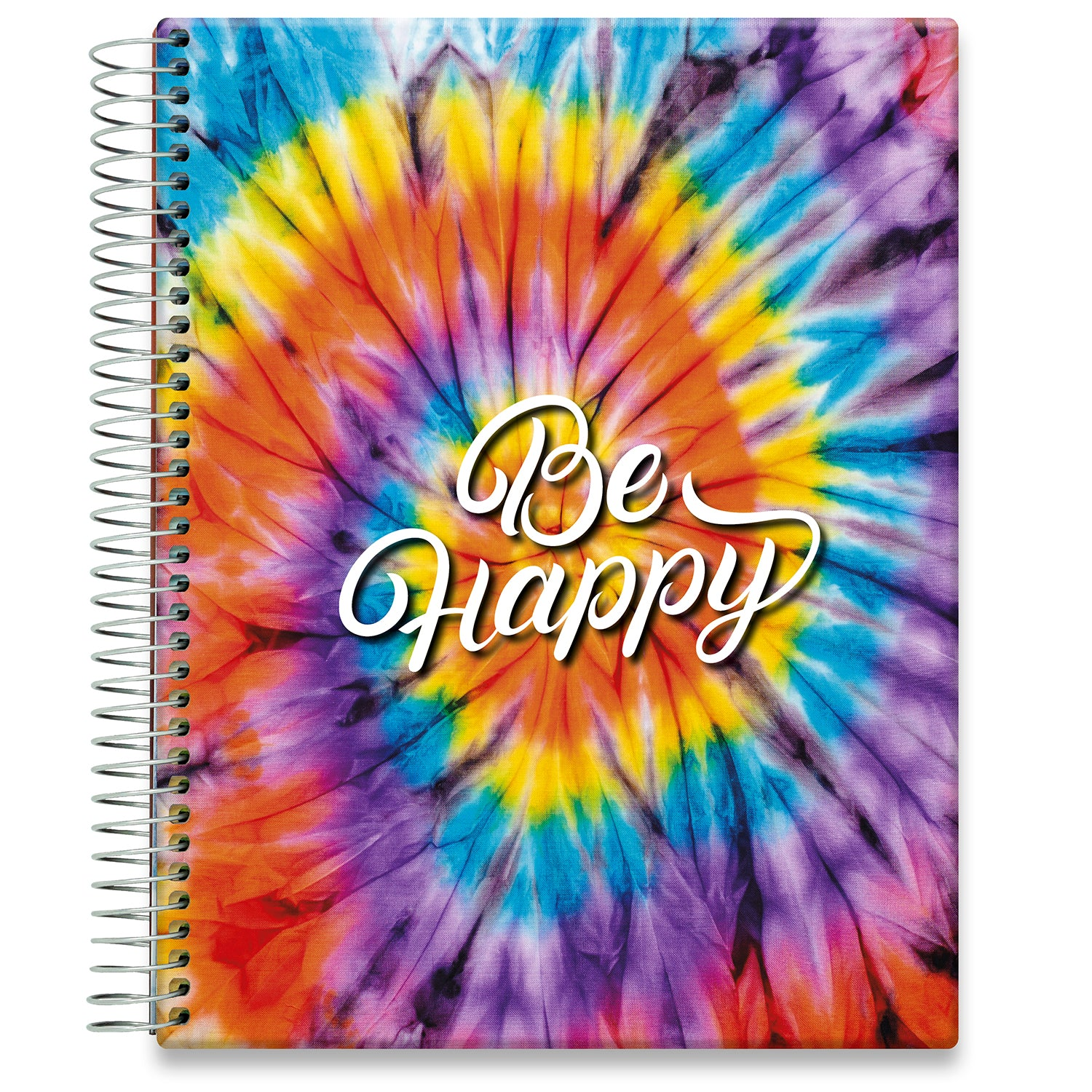 Planner 2021-2022 • April 2021 to June 2022 Academic Year • 8.5x11 Hardcover • Be Happy - Tie Dye