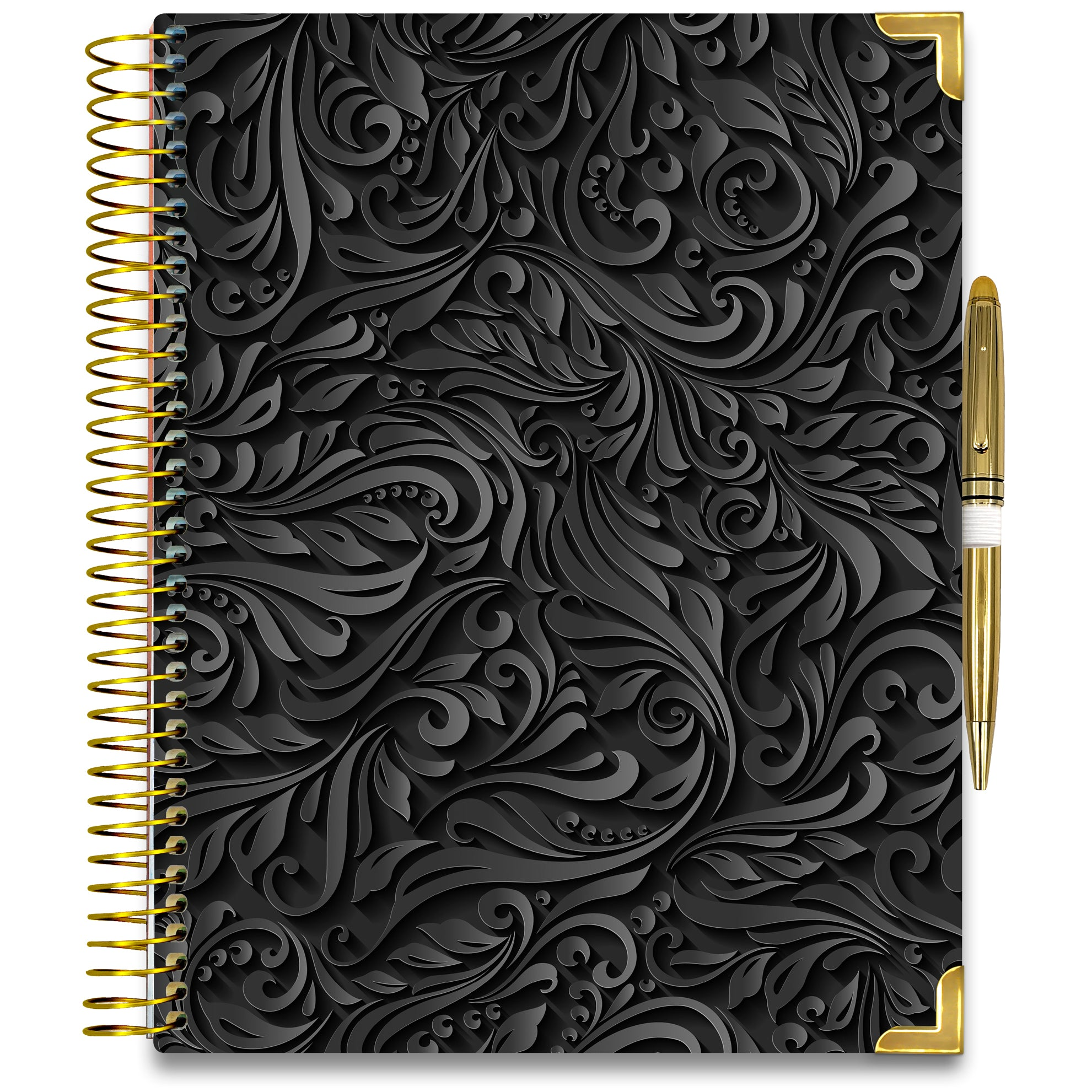 NEW: April 2020-2021 Planner - Gold Edition - Black Floral-Office Product-Tools4Wisdom
