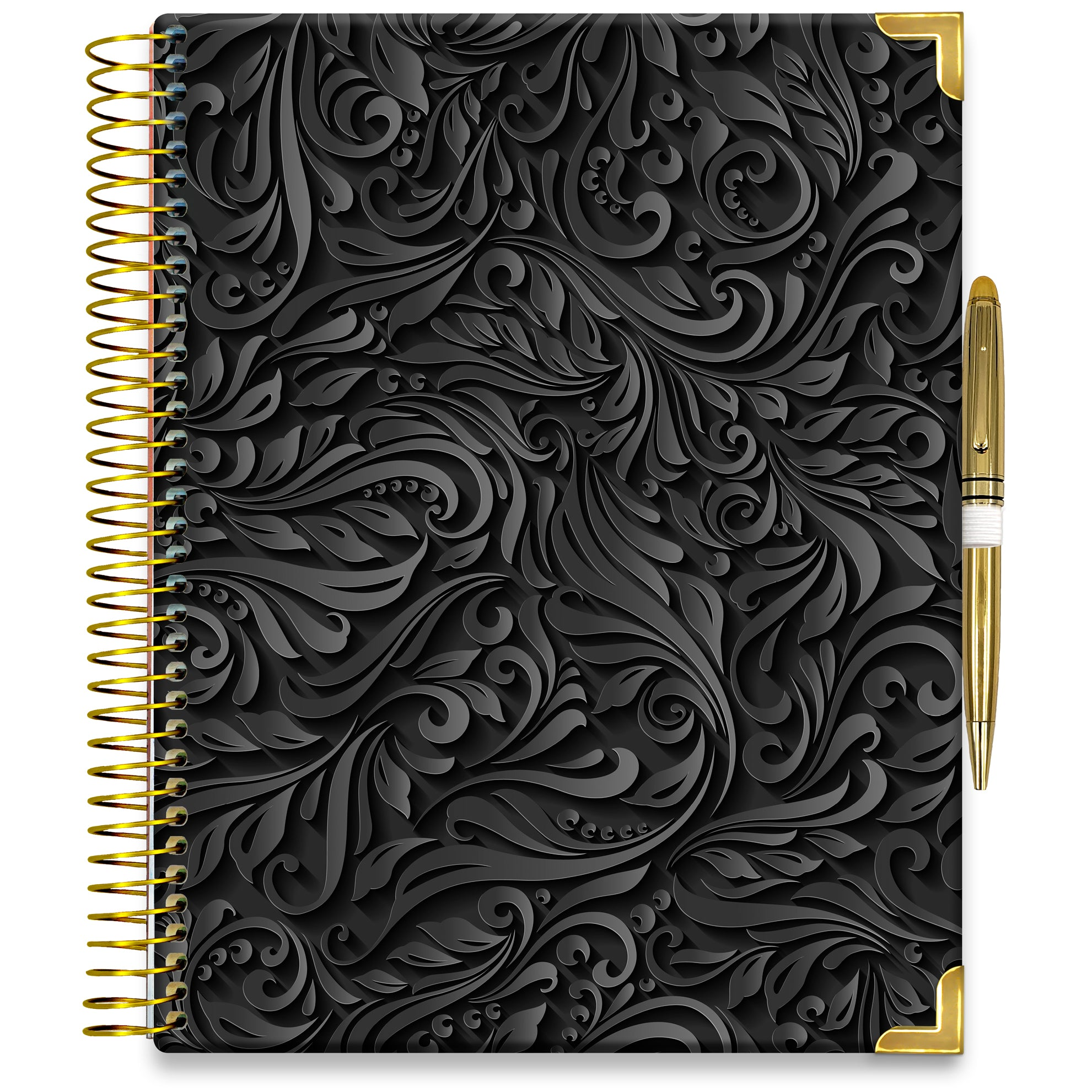 PRE-ORDER: APRIL 2021-2022 Planner - 15M Academic Year - Pro-Edition - 8.5x11 Hardcover - Black Floral Cover