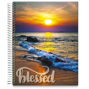 Planner 2021-2022 • April 2021 to June 2022 Academic Year • 8.5x11 Hardcover • Beach Sunset w Quote